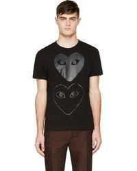 Play Comme des Garçons - Black Two Hearts T-shirt - Lyst