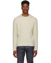 Rag & Bone - Ivory Trevor Aran Sweater - Lyst