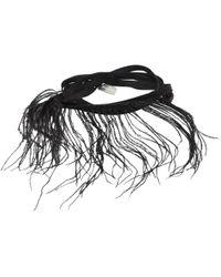 Ann Demeulemeester | Black Feather And Ribbon Bracelet | Lyst