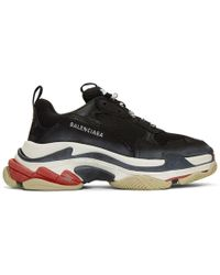 Balenciaga - Black Triple S Leather Trainers - Lyst