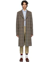 Gucci - Black And Orange Houndstooth Coat - Lyst