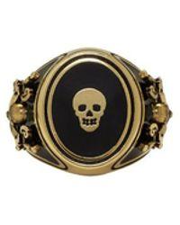 Alexander McQueen - Gold Enamel Signet Ring - Lyst