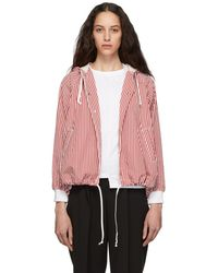 Comme des Garçons - Red And White Striped Hooded Jacket - Lyst