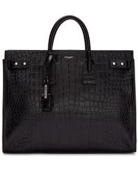 Saint Laurent - Black Croc Sac De Jour Tote - Lyst