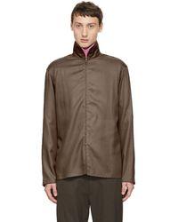 Lemaire - Brown Zippered Shirt - Lyst