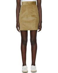 DSquared² - Beige Corduroy Miniskirt - Lyst