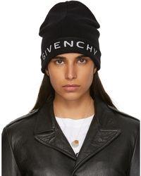 Givenchy - Black Wool Logo Beanie - Lyst