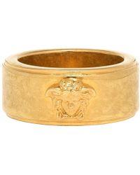 Versace Bague a logo doree et noire - Métallisé