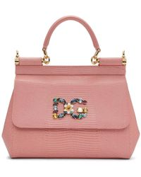 Dolce & Gabbana - Pink Iguana Small Miss Sicily Bag - Lyst