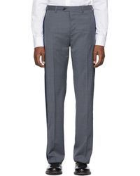 Valentino - Navy Check Loose Trousers - Lyst