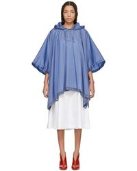 Moncler - Blue Hooded Grommet Poncho - Lyst