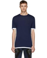 Neil Barrett - Blue And White Double T-shirt - Lyst