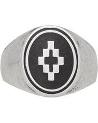 Marcelo Burlon - Silver And Black Cross Ring - Lyst