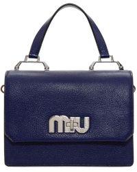 Miu Miu - Navy And Pink Medium Miu Logo Bag - Lyst
