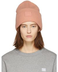 cea0dd6bb0f Lyst - Acne Studios White Pansy S Face Beanie in White