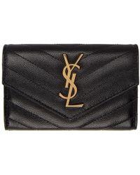 Saint Laurent - Black Small Monogramme Envelope Wallet - Lyst