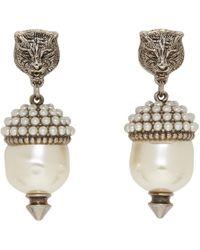 Gucci - Silver Feline Pearl Earrings - Lyst
