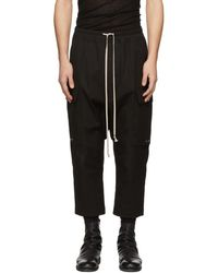 Rick Owens - Black Drawstring Cropped Cargo Trousers - Lyst