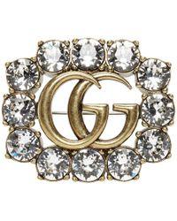 Gucci - Gold Crystal GG Brooch - Lyst