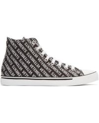 Vetements - Black And White Canvas Logo High-top Trainers - Lyst