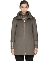 Herno - Taupe Short Cashmere Coat - Lyst
