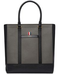 Thom Browne - Black And Grey Colorblocked Tote - Lyst