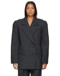 Marc Jacobs - Blue Check Wool Double-breasted Blazer - Lyst