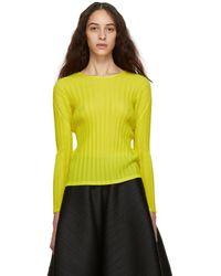 Pleats Please Issey Miyake - Yellow Pleated Sweater - Lyst