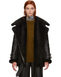 Acne Studios - Black Leather And Shearling Velocite Jacket - Lyst
