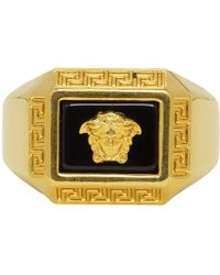 Versace - Gold Medusa Square Ring - Lyst
