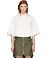 See By Chloé - Off-white Three-quarter Length Hoodie - Lyst