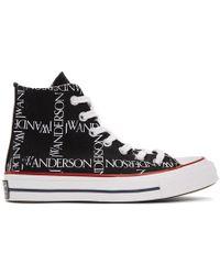JW Anderson - Black Converse Edition Grid Logo Chuck 70 Hi Trainers - Lyst
