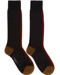 Marni - Black And Red Silk Colorblocked Socks - Lyst