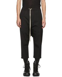 Rick Owens - Black Cropped Drawstring Trousers - Lyst
