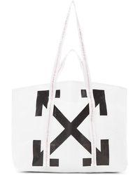 Off-White c/o Virgil Abloh Diagonal Arrows Logo Print Tote - White