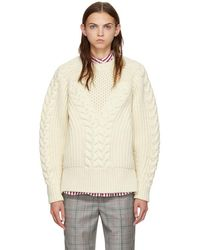 Alexander McQueen - White Chunky Knit Jumper - Lyst
