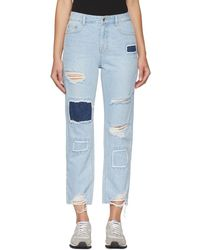 SJYP - Blue Patched Cut-off Jeans - Lyst