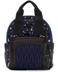 Miu Miu - Blue Nylon Matelassé Backpack - Lyst
