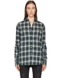 R13 - Green Pleated Sleeve Shirt - Lyst