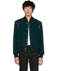 Saint Laurent - Blue Canard Teddy Bomber Jacket - Lyst