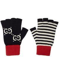 Gucci - Gants bleu marine et rouges GG - Lyst
