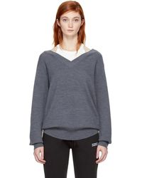 T By Alexander Wang - Grey And Off-white Bi-layer Off-the-shoulder Pullover - Lyst