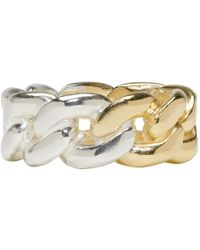 Maison Margiela - Gold And Silver Curb Chain Ring - Lyst