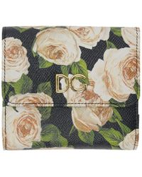 Dolce & Gabbana - Black Flowers Flap Wallet - Lyst