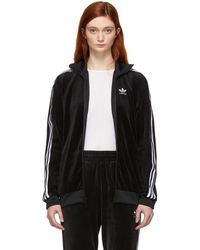 adidas Originals Black Cropped Track Jacket in Black Lyst