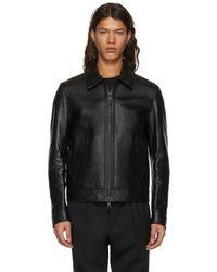 AMI - Black Leather Zipped Jacket - Lyst
