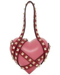 Valentino - Pink Garavani Heart Cage Rockstud Minaudiere Clutch - Lyst