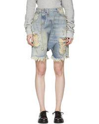 R13 - Blue Denim Twister Shorts - Lyst