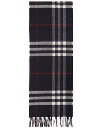Burberry - Navy Cashmere Giant Icon Check Scarf - Lyst