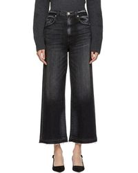 AMO - Black Ava Cropped Jeans - Lyst